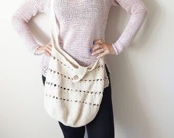 Ecrue Crochet 100% Linen Cross Body Bag / Eco Bag  / Summer Everyday Hobo Bag