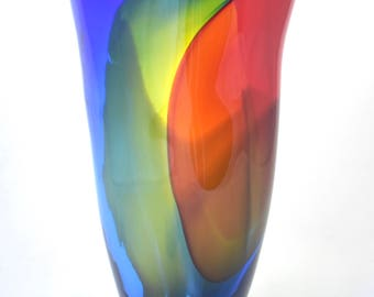 Primary Color Rainbow Vase- hand blown glass vase, colorful, organic, wild, vibrant, transparent, unique, centerpiece,  great gift idea