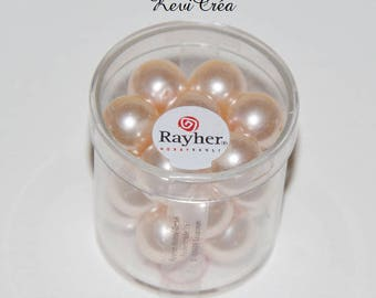 1 x box beads 12mm polished glass - RAYHER - Rose