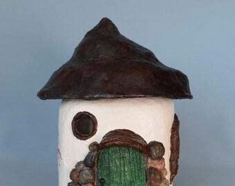 Springtime Fairy Cottage Jar with removable lid
