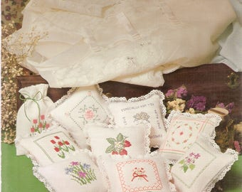 Vintage Counted CROSS STITCH patterns - Sachet Pillows - Flowers