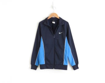 Nike Track Jacket Navy Track Suit Jacket Jogging Jacket Aesthetic Clothing Vaporwave Jacket Blue Track Jacket Womens XS Small Medium Large