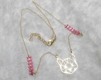 Cat pink gold necklace
