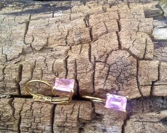 Rectangle Shape Pink Earrings/Pink Stone Earrings/Light Pink Stone Earrings/Pink Stone Earrings set in Gold/Faceted Pink Stone Earrings
