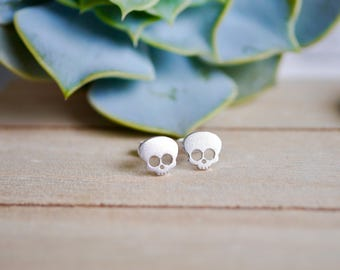 Sterling Silver Skull Stud Earrings / 925 / gothic earrings / cute / gifts for her / jewellery / jewelry / halloween gifts / hypoallergenic