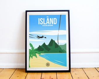 Lost Island Travel Poster - Lost Wall Art - Lost Travel Poster - Dharma Initiative  Oceanic Airlines Print - (Available In Many Sizes)