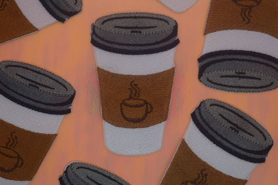 Coffee Cup Iron on Patch