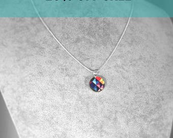NEW geometric colourful wood necklace, Pendant necklace. silver setting necklace, pendant, multi colour pendant