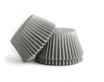 Silver Cupcake Liners // Gray Baking Cups (Qty 50)