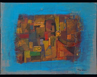 Ronald Ahlström  Abstract Mixed Media Composition On Board Mid Century MCM MOD Vintage Ahlstrom