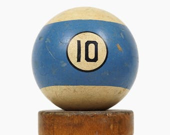 "No. 10 Pool Ball Brunswick Ivorylene Billiard Ball Size 2.25"" Stone Clay Ten X Stripe Stripes Striped"
