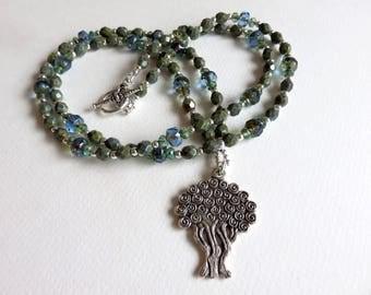 Tree of Life Necklace, Beaded Necklace, Czech Glass Necklace, Blue Necklace, Green Necklace, Statement Necklace, Boho Necklace