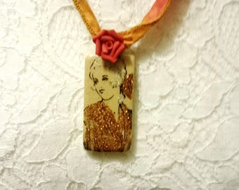 Necklace vintage domino women's , multicolored silk ribbon, mother's day
