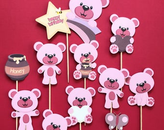 Bear Cupcake Toppers, 10 Bear Cake Topper, Bears Cupcake Toppers, Bear Theme  Birthday