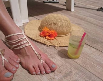Barefoot Sandals Crochet PATTERN- Boho Barefoot Sandals/ Crochet Beads Beach Wedding Sandals/ Crochet Boho Anklet/Textile Jewelry