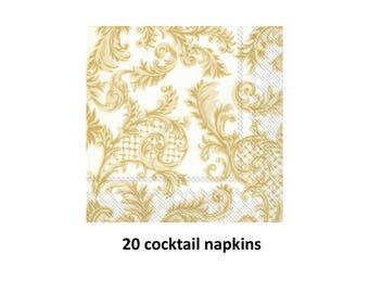 gold scroll cocktail napkins, elegant wedding decorations, bar supplies, reception decor, fancy design, gold and white, formal, bridal