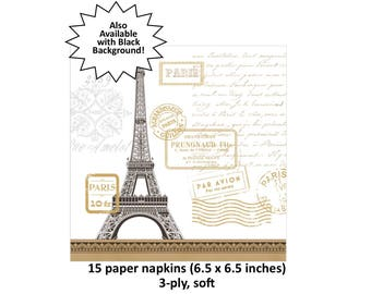 Paris travel napkins, Eiffel tower, French wedding decor, Parisian party decorations, table supplies, Sweet 16 ideas, teens, ooh la la