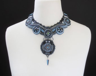 statement necklace - tribal chic necklace - gypsy jewelry - one of a kind jewelry - beaded necklace