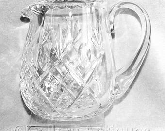 "Large Vintage Heavy Crystal Cut Glass Jug water pitcher 6 1/16"" Tall Fan, Criss Cross and Thumbprint Design c.1980's (ref: H150)"