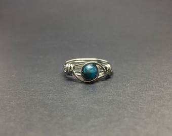 Apatite Wire Wrapped Ring