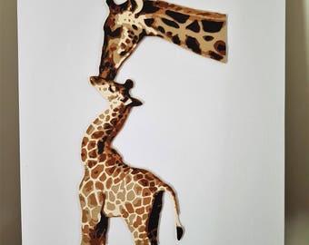 Giraffe paper cut artwork - 16 x 20 inches (40.6cm x 50.5cm) unframed - Art by Penny Redshaw
