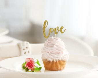 LOVE glitter cupcake topper set of 12 - wedding / engagement / bridal / baby shower / party decor