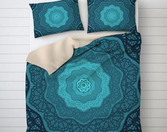 Blue Mandala Duvet Cover Queen, Geometric Art, Mandala Bedding, Bedroom Decor, Blue Duvet Cover, Printed Duvet Cover