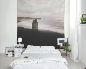 Black Beach Tapestry, Iceland Coast Wall Art, Landscape Photo, Tapestry Wall Hanging, Beach Tapestry, Wall Blankets, Large Tapestries