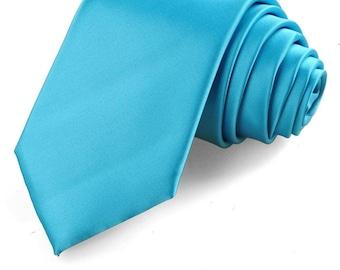 "Wedding Tie Blue Necktie Regular Slim 2.75"" Groomsmen Satin Neckties Best Man Groom Groomsman Father of the Bride Turquoise Robins Egg Blue"