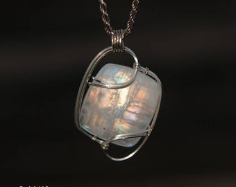 Gorgeous Rainbow Moonstone Wire Wrapped Pendant - Sterling Sliver Wire Wrapped Stone Pendant - Stone Wire Wrap Pendant - Moonstone Wire Wrap