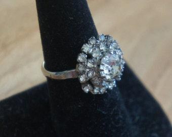 Vintage jewelry   Ring Silver CZ Aurora Borealis Size -8 W-148