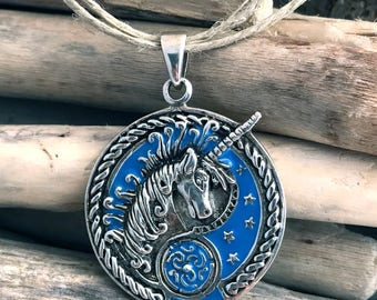 Sterling Silver Unicorn Pendant Necklace ANM022