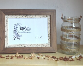 "Walnut wood photo frame with handmade paper mountboard: 'Bird's Nest' [4"" x 6"" aperture]"