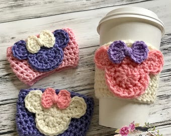 "RTS / The ""Valentine Minnie"" Cozie / Cozies / Coffee Cozie / Tea Cozie / Tumbler Cozie / Crochet Cozie"