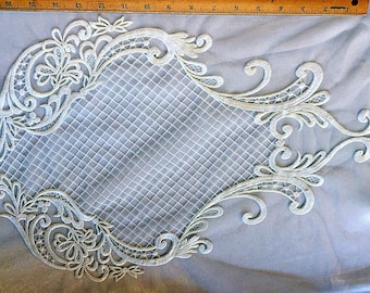"""JN00500 Ivory Embroidery Floral Pattern 22""""*13"""" 100% Polyester Mesh Two Way Stretch by pattern"""
