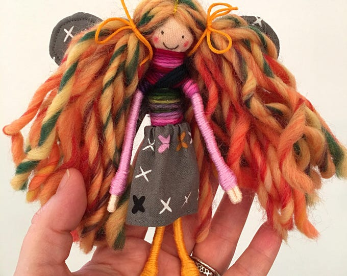 fairy doll, bendy doll, dollhouse doll, fairy garden figure, handmade toys for pretend play, gifts for kids