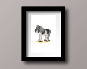 Bess the black & white pony watercolour wall art