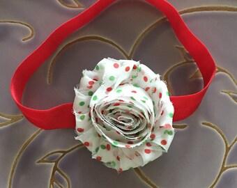 Red Headband, Baby Headband, Stretch Headband, Green Red, Polka Dots, Christmas Gift, Baby Gift, Baby Girl, Shower Gift