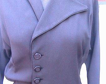 1940s Vintage Nathalie Nicoli California Black Crepe Dress