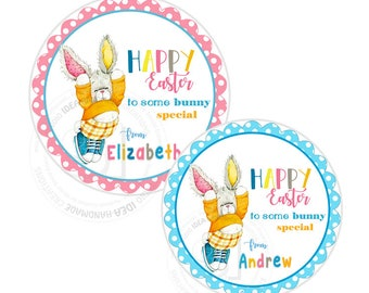"""Custom Easter Bunny Printable 2.5"""" Tags-Happy Easter Holidays D.I.Y Tags- Personalized Stickers (You Print) 2.5"""" tags-Digital file"""