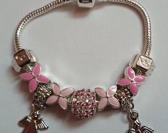 Pink with small Angels ref 110 charms bracelet