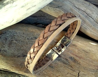 Leather bracelet for Man, beige leather , double link braided, Boho jewelry, By Dodie