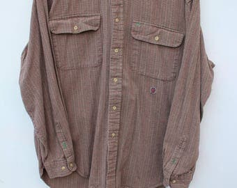 Tommy Hilfiger Button Shirt - Mini Houndstooth Plaid and Corduroy / Men's LARGE - Relaxed, Loose fit / 90 Tommy