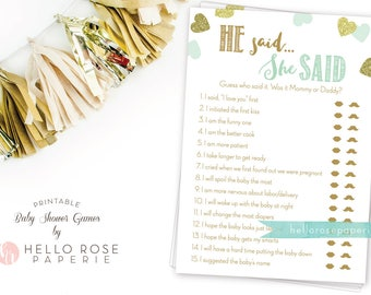 He Said She Said . Mint and Gold Baby Shower Game . Mommy or Daddy Guess Game . Printable Instant Download . Girl Boy Twin Baby Shower Games