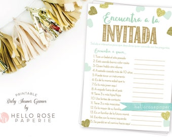 Spanish Find the Guest . Encuentra a la Invitada Baby Shower Game . Mint and Gold . Boy Girl or Twins Baby Shower Game . Printable Download