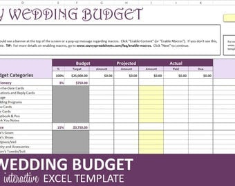 Savvy Wedding Budget - Purple - Wedding Budget Planner | Excel Wedding Budget Wedding Expenses Tracker | Instant Digital Download