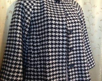 Banana Republic dogstooth houndstooth black white wool swing jacket XS S