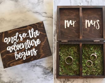 Personalized Wedding Ring Box | Ring Bearer Box | Engagement Ring Box | Wood Ring Box | Rustic Wedding | Custom Ring Box - Faux Moss Option