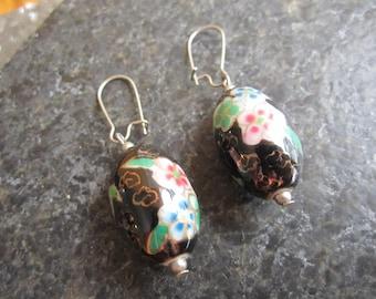Big Chinese porcelain bead earrings - E158