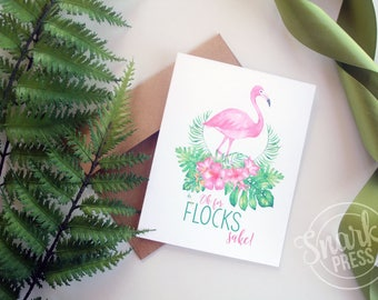 Oh for Flocks Sake - watercolor - greeting card - Flamingo Card - blank card - Birthday card - funny birthday card - funny card - tropical